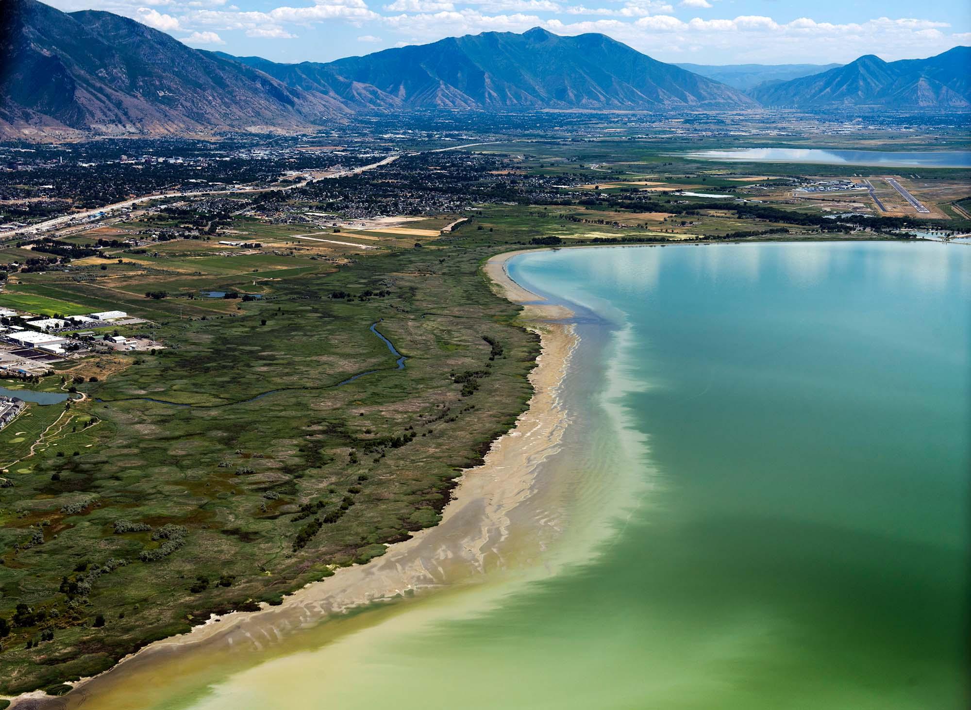 Rick Egan   The Salt Lake Tribune Discolored water in Utah Lake, looking south from Lindon Marina on July 14, 2016.
