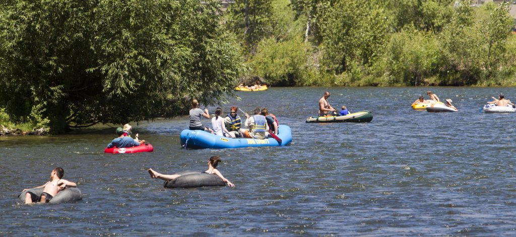 People float the Boise River in June 2015