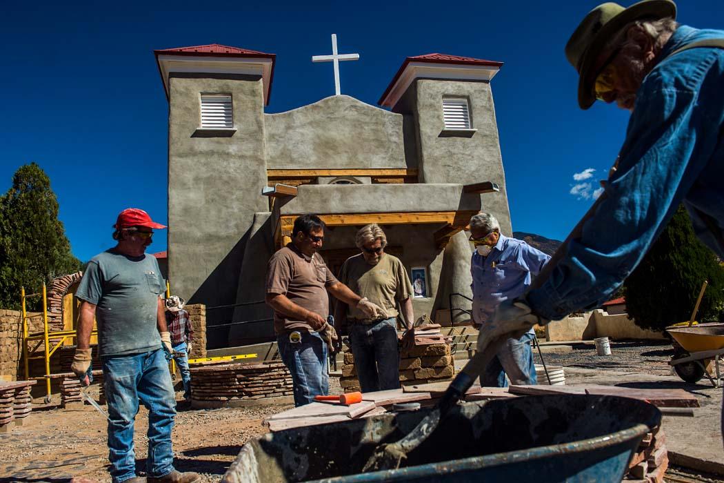 Volunteers work to rebuild the San Antonio del Rio Colorado Church